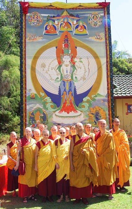 Chenrezig Institute, Australia, large 1,000-Arm Chenrezig thangka is displayed at the Festival of Tibet each year and seen by over 5,000 people and is the backdrop to political discussions, meditations, concerts, and dharma talks.