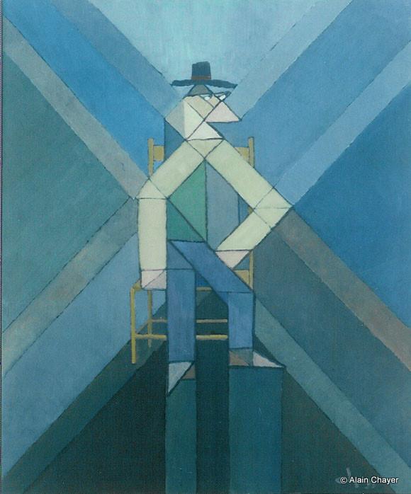 041 - L'homme Assis - 1993 55 x 46 - Acrylique sur toile