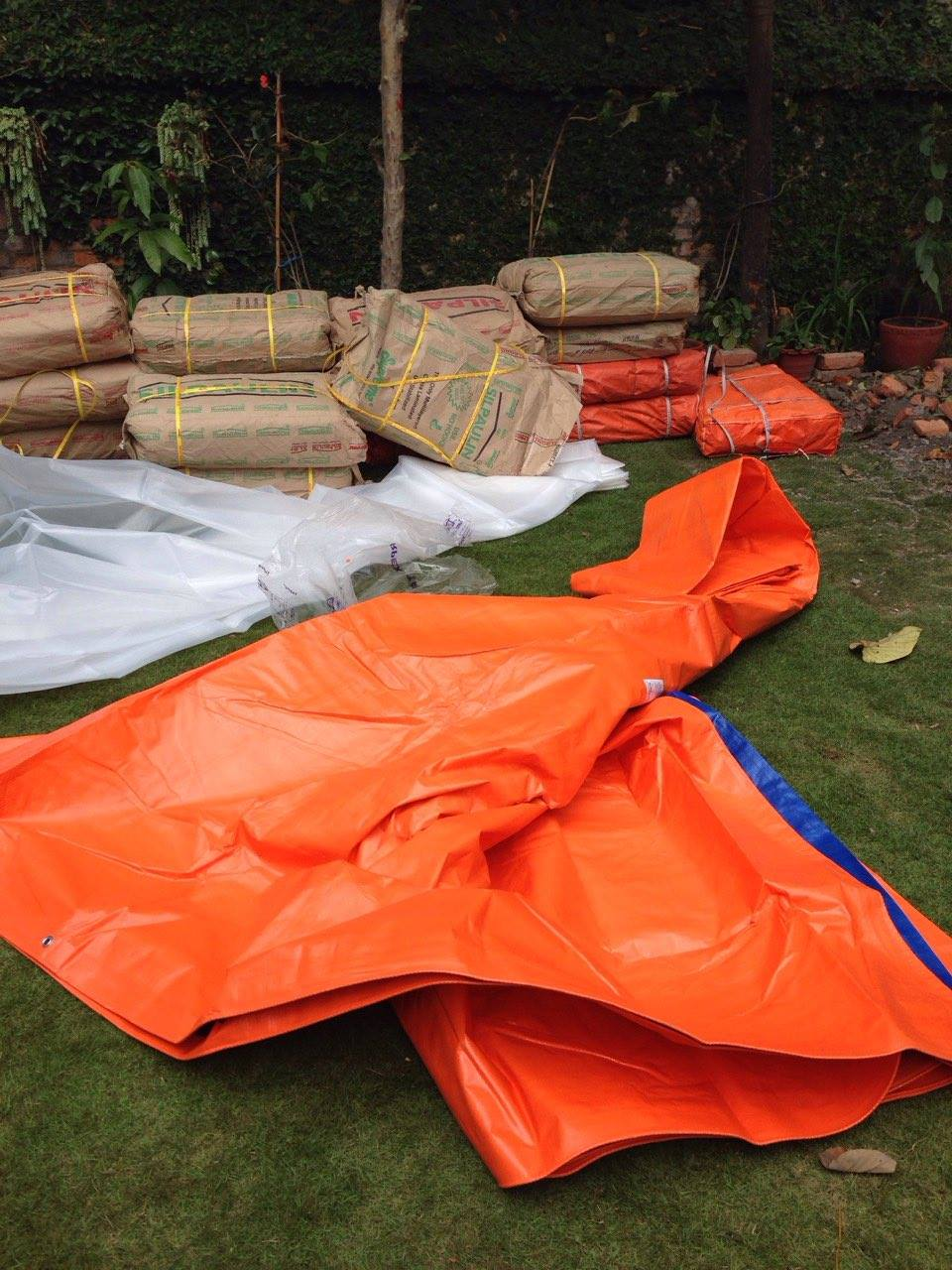 Tarps and supplies needed as emergency aid.