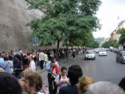 The very long queue to get into the Vatican Museum