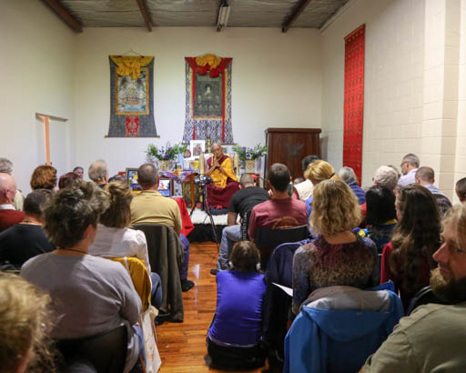 Lama Zopa Rinpoche at a public teachings organized by Dorje Chang Institute, Auckland, New Zealand, May 2015. Photo by Ven. Thubten Kunsang.