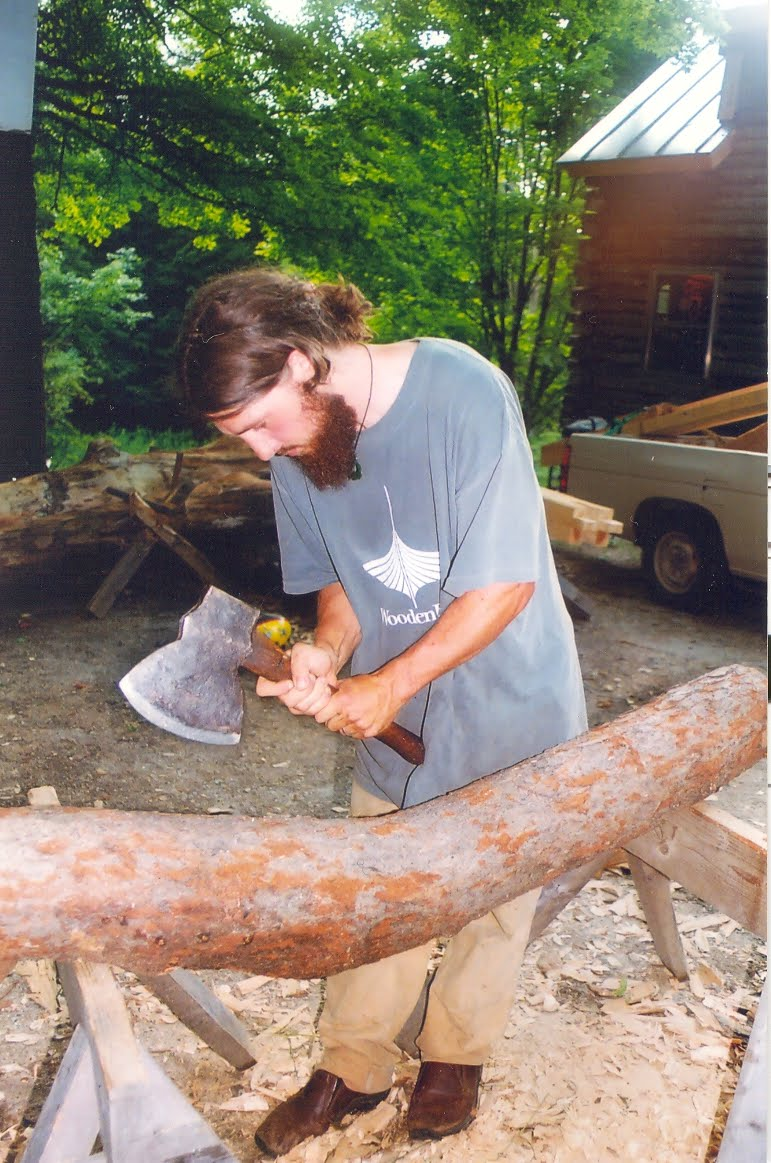 Hewing one of  the black cherry braces.