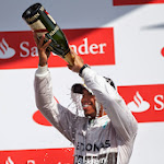 Lewis Hamilton on the podium