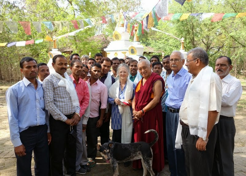 Lama Zopa Rinpche with Adriana Ferranti and the staff of MAITRI Charitable Trust, Bodhgaya, India, March 2014. Photo by Ven. Roger Kunsang.