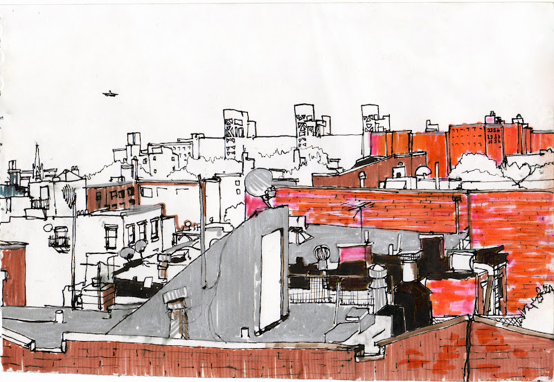 A view from a Brooklyn room 11x17 pen and ink on paper