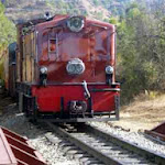 Toy train passing near Sunrise Villa
