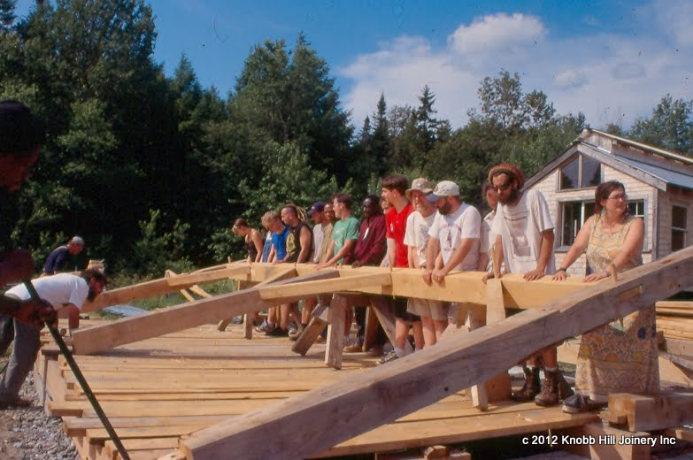 Seth Kelley prepares students and staff for a hand raising at the Institute for Social Ecology.
