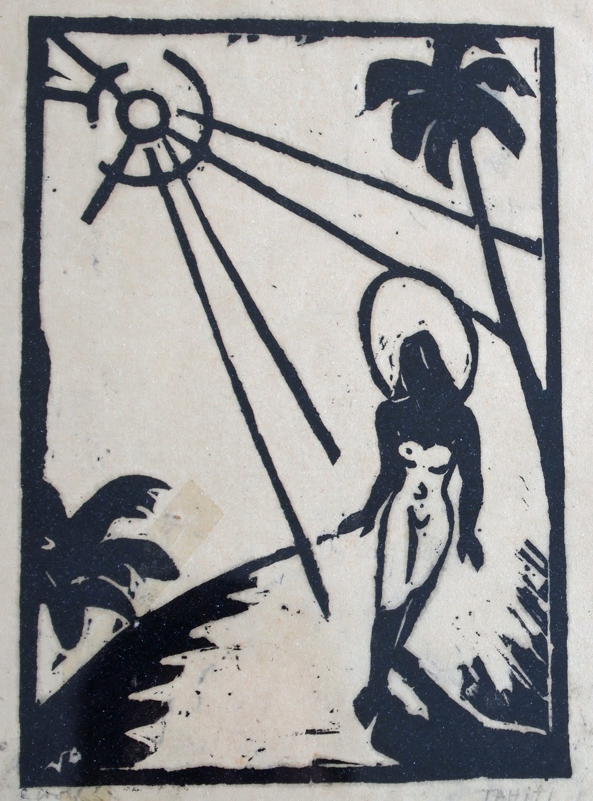 Tahitian woman on the way to the lagoon, woodcut, 1936, family-owned