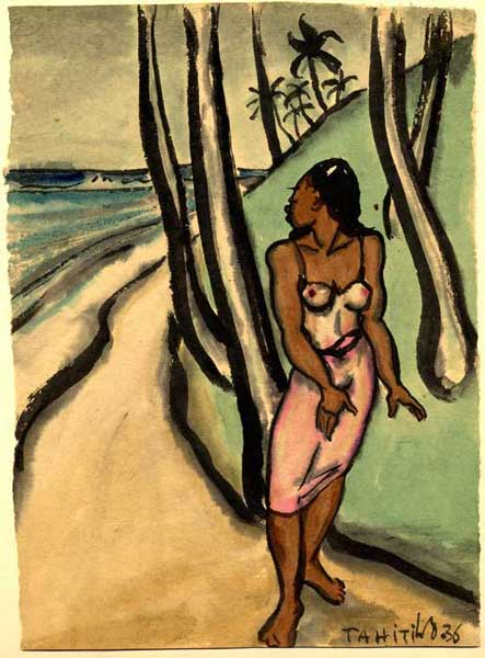 At the shore, 1936, watercolor on paper, 10 x 7 inches