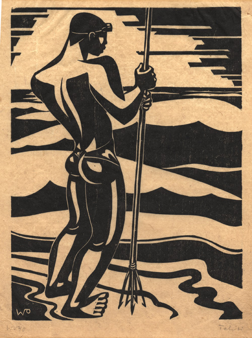 Tahitian spear fisherman, linocut, 1940