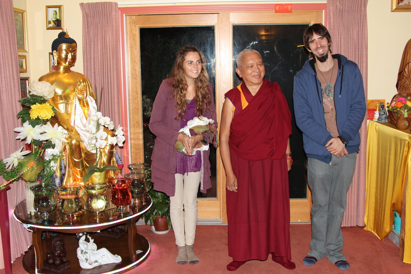 Tenzin Ösel and his partner, Mai, visiting Rinpoche at Aptos House, California. October, 2013.