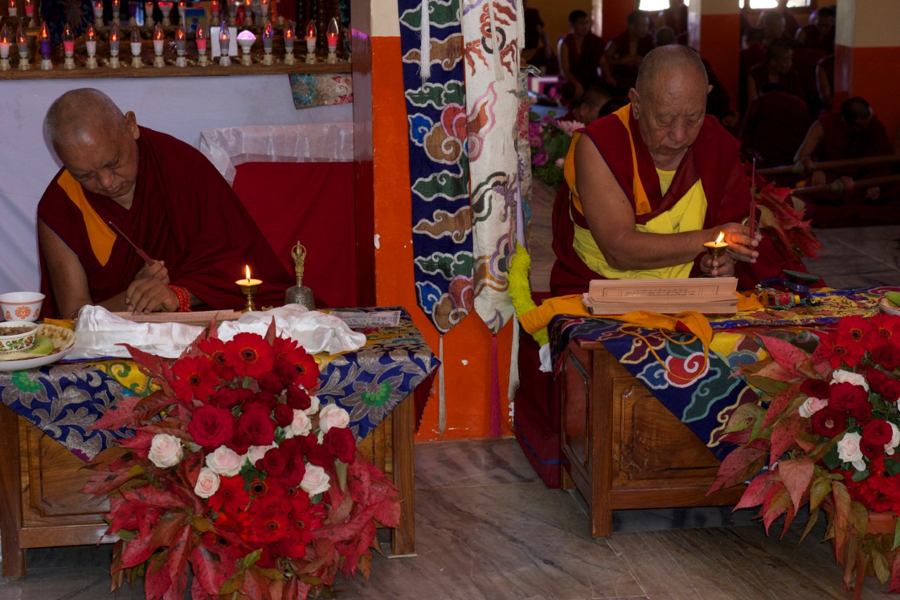 Lama Zopa Rinpoche with Sera Je Abbott Dec 2012