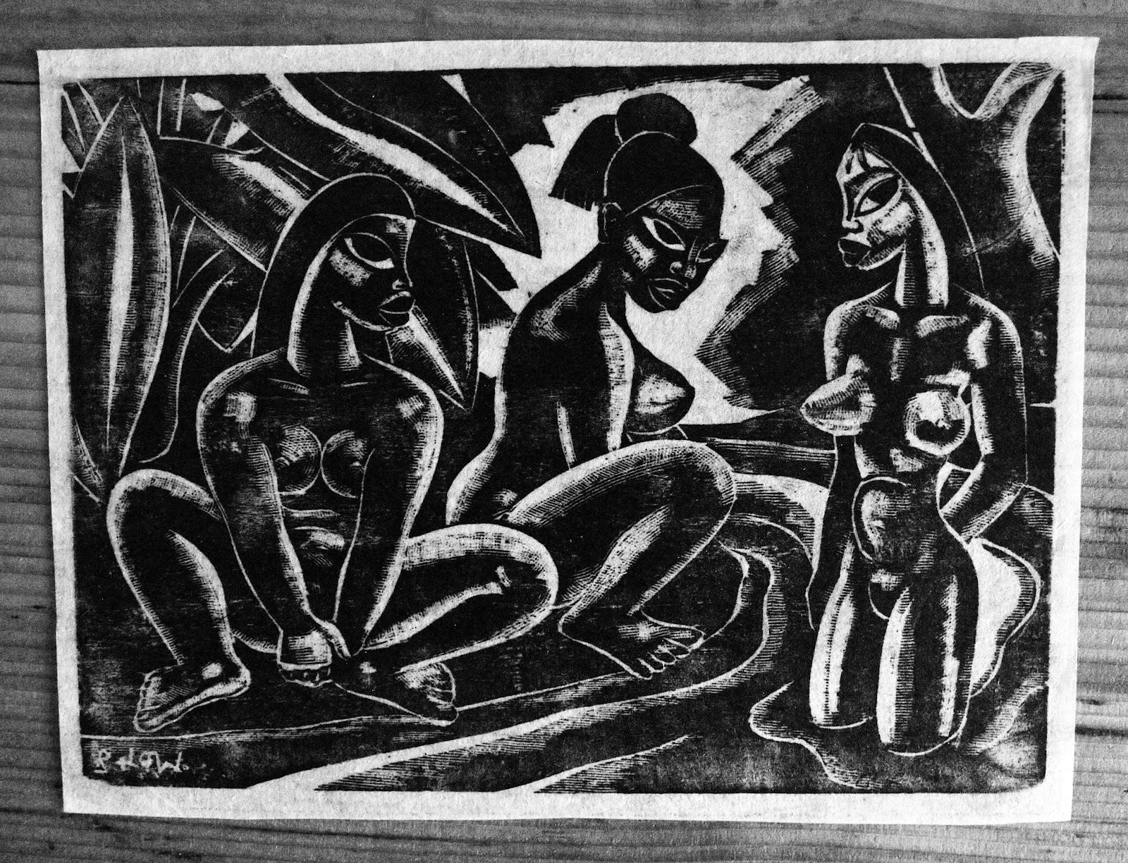 Three Tahtian Nudes, wood print, family-owned