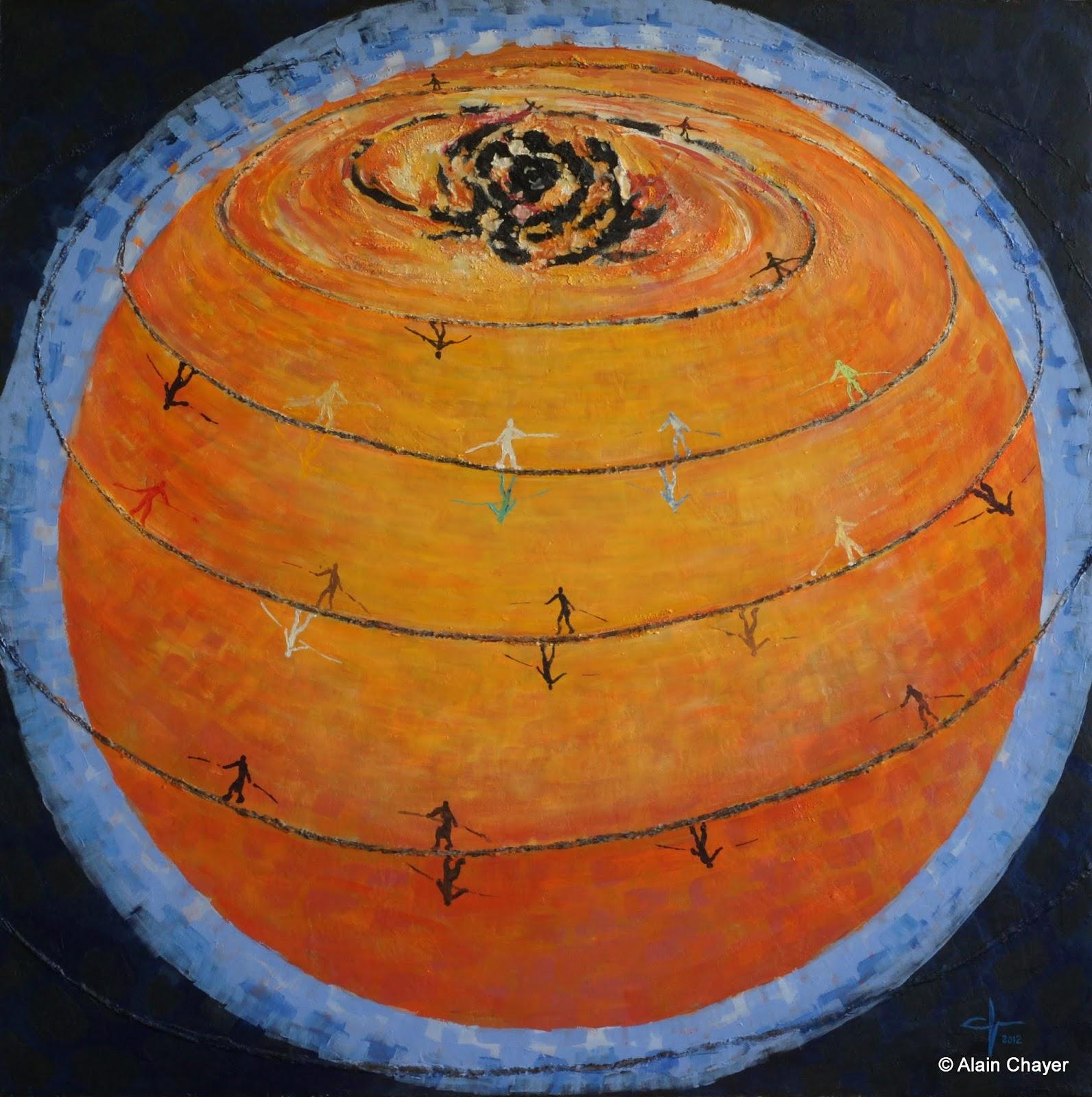 239 - Latitudes - 2011 - 100 x 100 - Acrylique sur toile marouflée sur bois