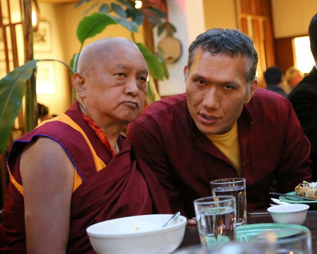 Lama Zopa Rinponche with Yangsi Rinpoche, founder and president of Maitripa College, at dinner, Portland, Oregon, US, April 2014. Photo by Ven. Thubten Kunsang.