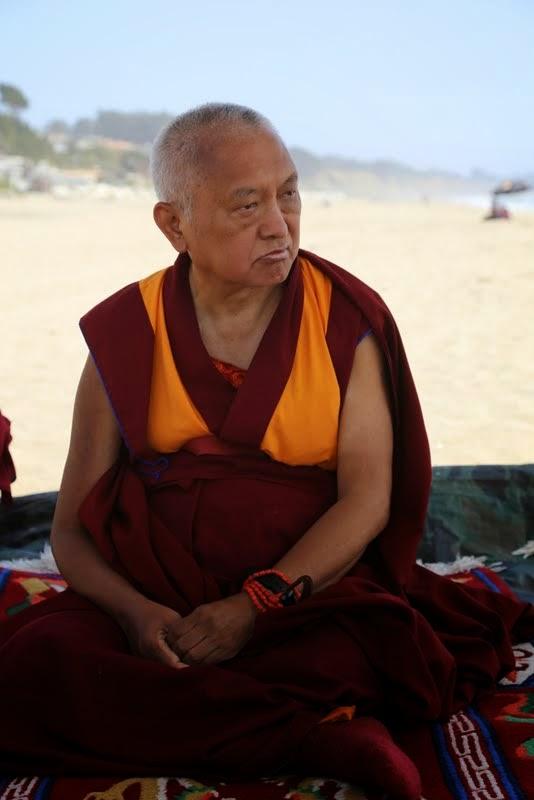 Lama Zopa Rinpoche on the beach near Aptos, California, US, May 2014. Photo by Ven. Thubten Kunsang.