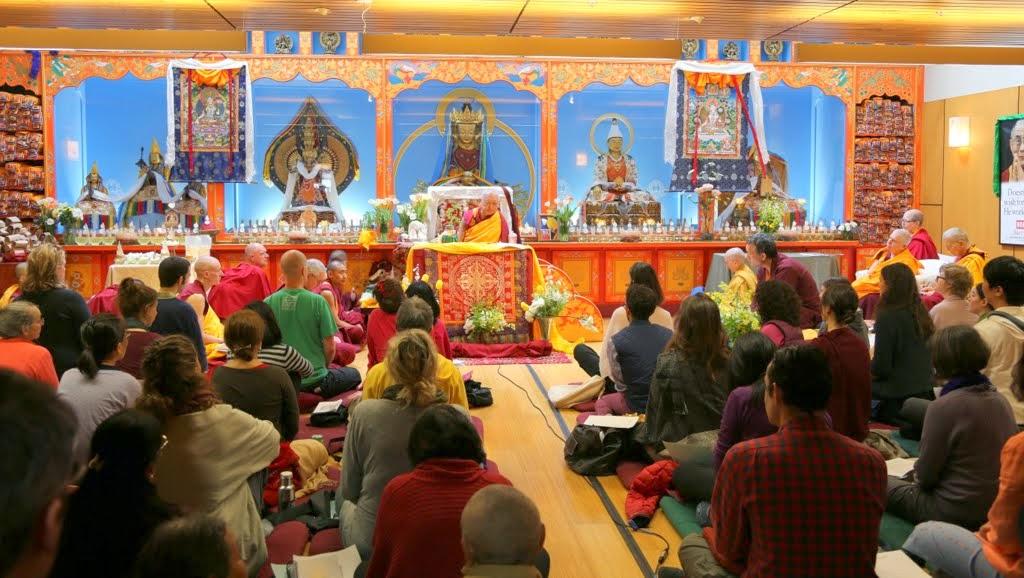 Lama Zopa Rinpoche during White Tara long life initiation at Maitripa College, Portland, Oregon, US, April 2014. Photo by Ven. Thubten Kunsang.