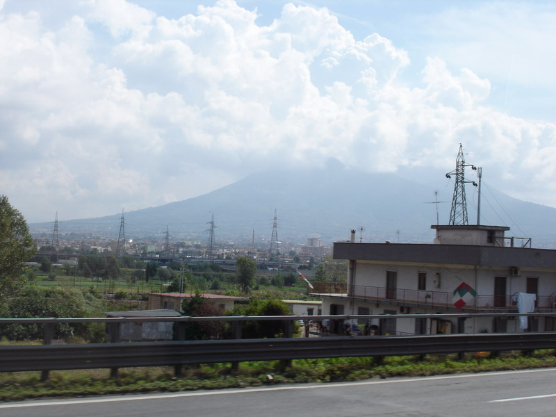 Mount Vesuvius from the motorway near Naples