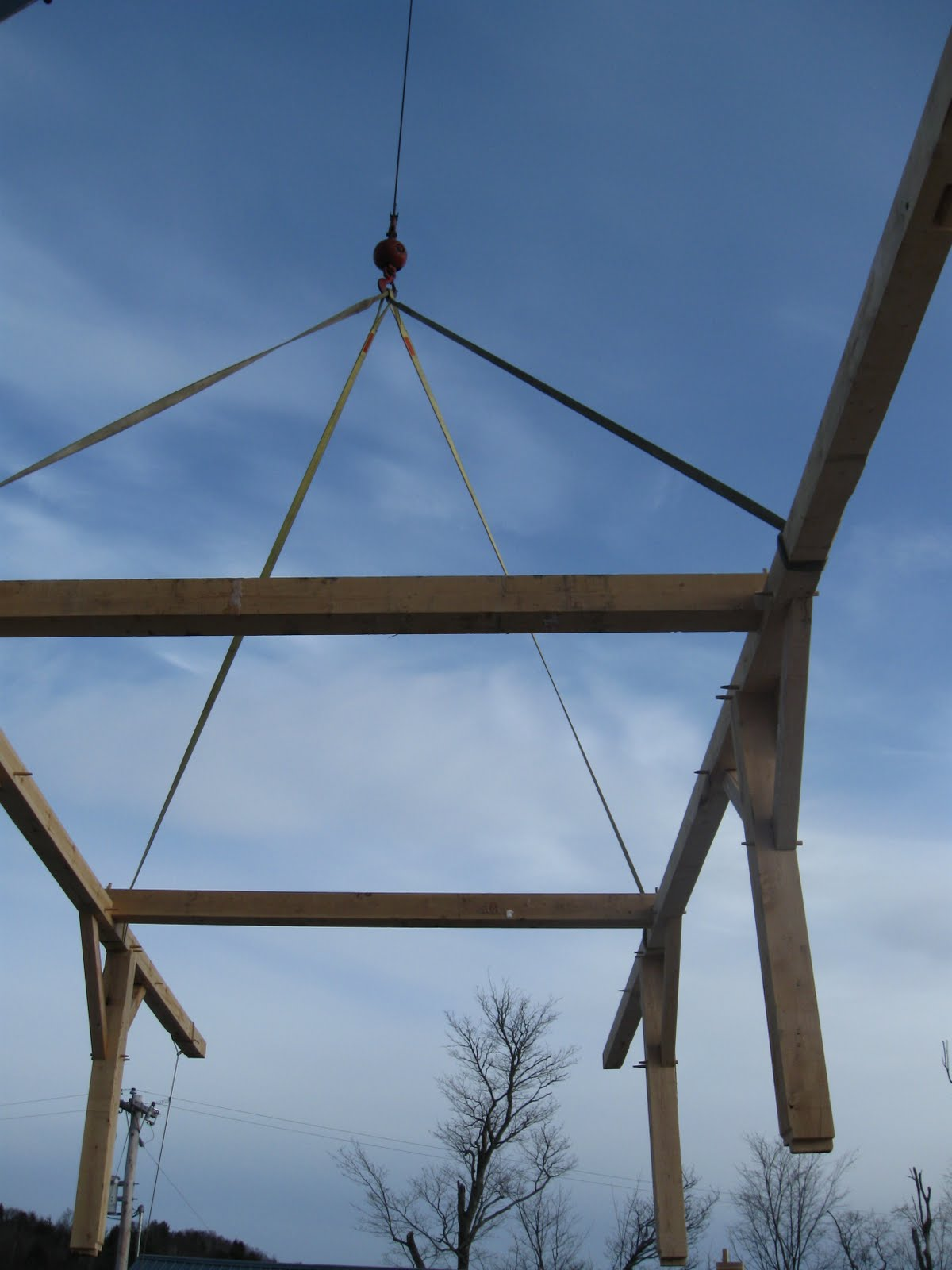 Except for the the gable bents, the purlin system was assembled and flown in as a unit.