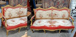 Два антикварных дивана. ок.1850 г. Дерево, позолота, гобелен с цветочным узором. 203/68/111 см. 22000 евро.