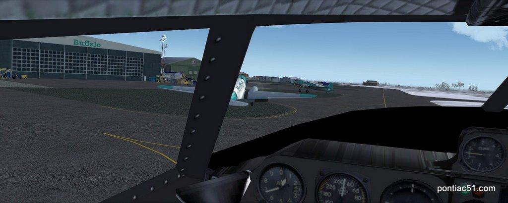 Taxi to Buffalo hangar.