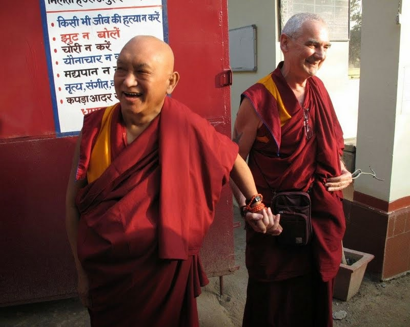 Lama Zopa Rinpoche and Ven. Roger Kunsang, Rinpoche's assistant and CEO of FPMT, Bodhgaya, India, January 2014. Photo by Ven. Trisha.