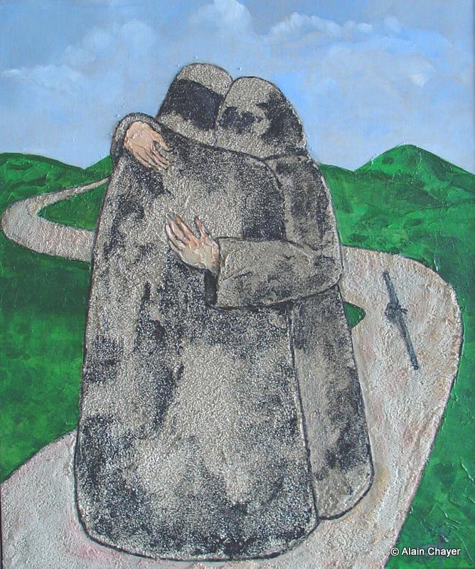 161 - Les deux frères - 2006 65 x 54 - Technique mixte sur toile