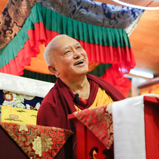 Lama Zopa Rinpoche teaching at Chandrakirti Centre, New Zealand, May 2015. Photo by Ven. Thubten Kunsang.