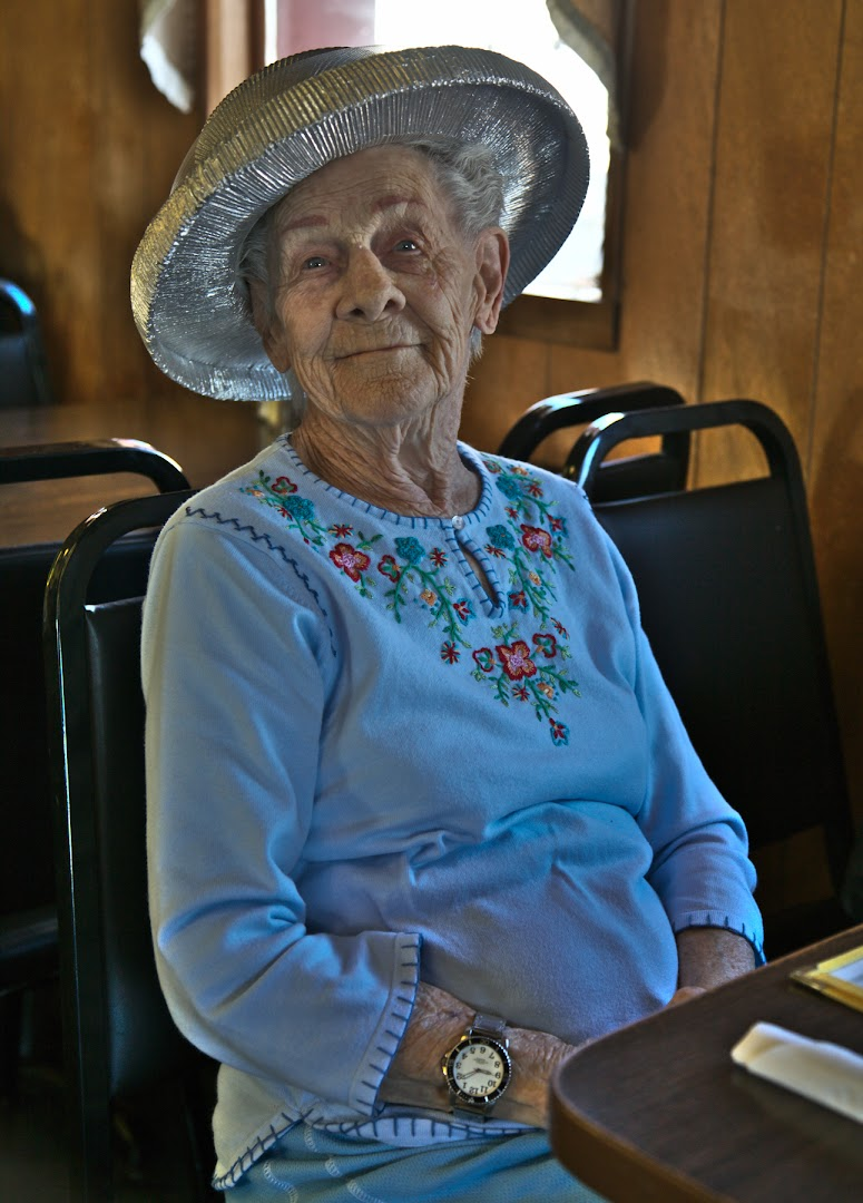 Elderly Coloradoan at a breakfast in the Middle of Nowhere