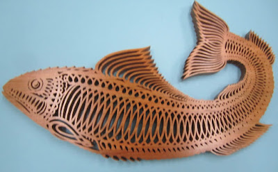 Fret Fish Pattern sold by cherry tree #1344   done in Cherry