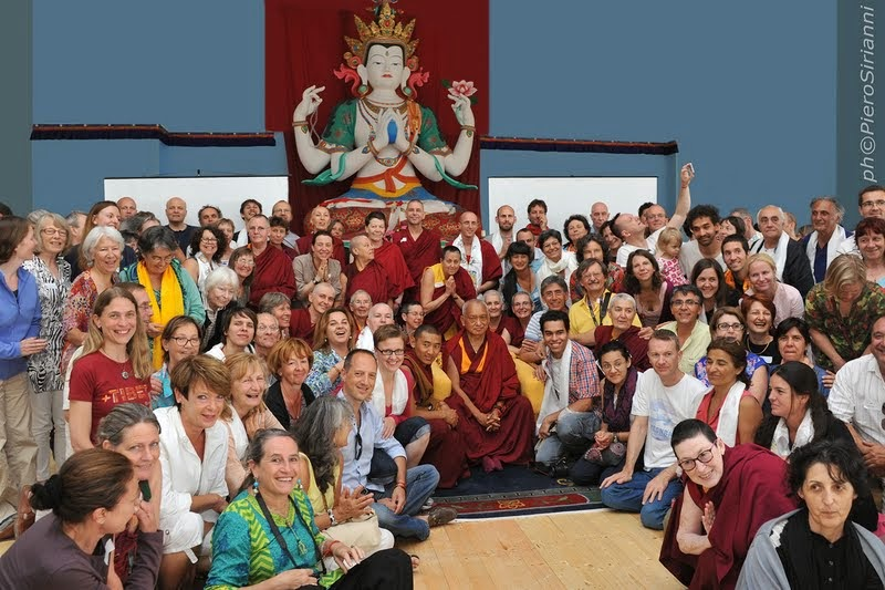 Lama Zopa Rinpoche with FPMT European Regional Meeting participants, Istituto Lama Tzong Khapa, Pomaia, Italy, June 17, 2014. Photo by Sirianni.