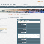 New Joomla template showing a brand new web form for catalog orders.