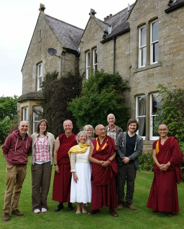 Lama Zopa Rinpoche at the potential site of Land of Joy, Northumberland, UK, July 2, 2014. Photo by Ven. Roger Kunsang.