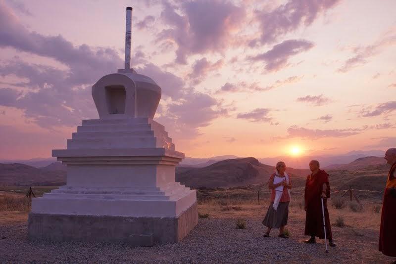 Lama Zopa Rinpoche with Su Ianiello visiting the new stupa being constructed by Pamtingpa Center near Tonasket, Washington, US, August 2014. Photo by Merry Colony.