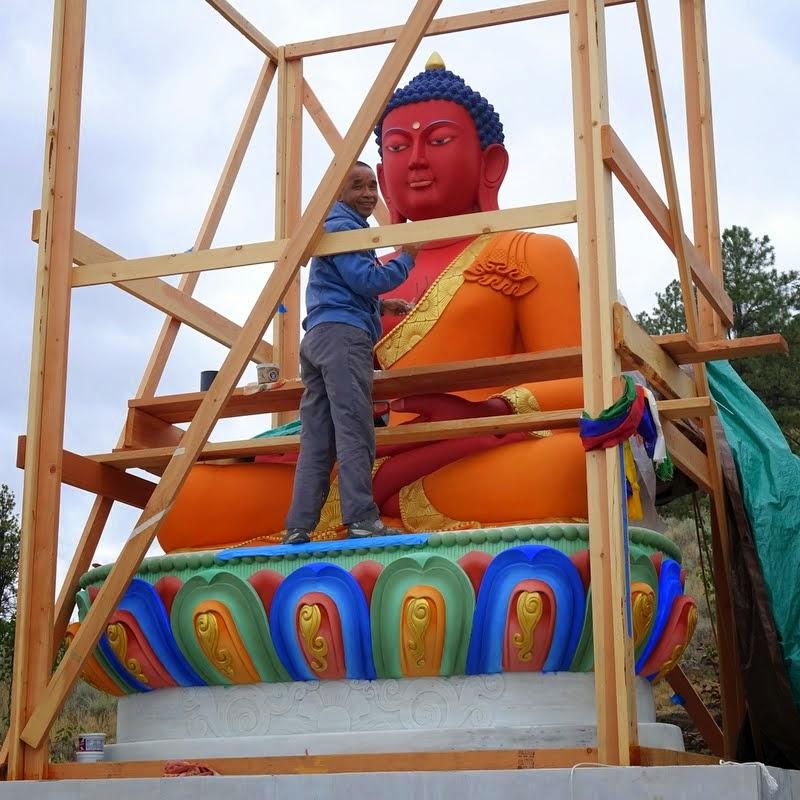 Gelek Sherpa after opening the buddha statue's eyes at Buddha Amitabha Pure Land, Washington, US, August 2014. Photo by Ven. Roger Kunsang.