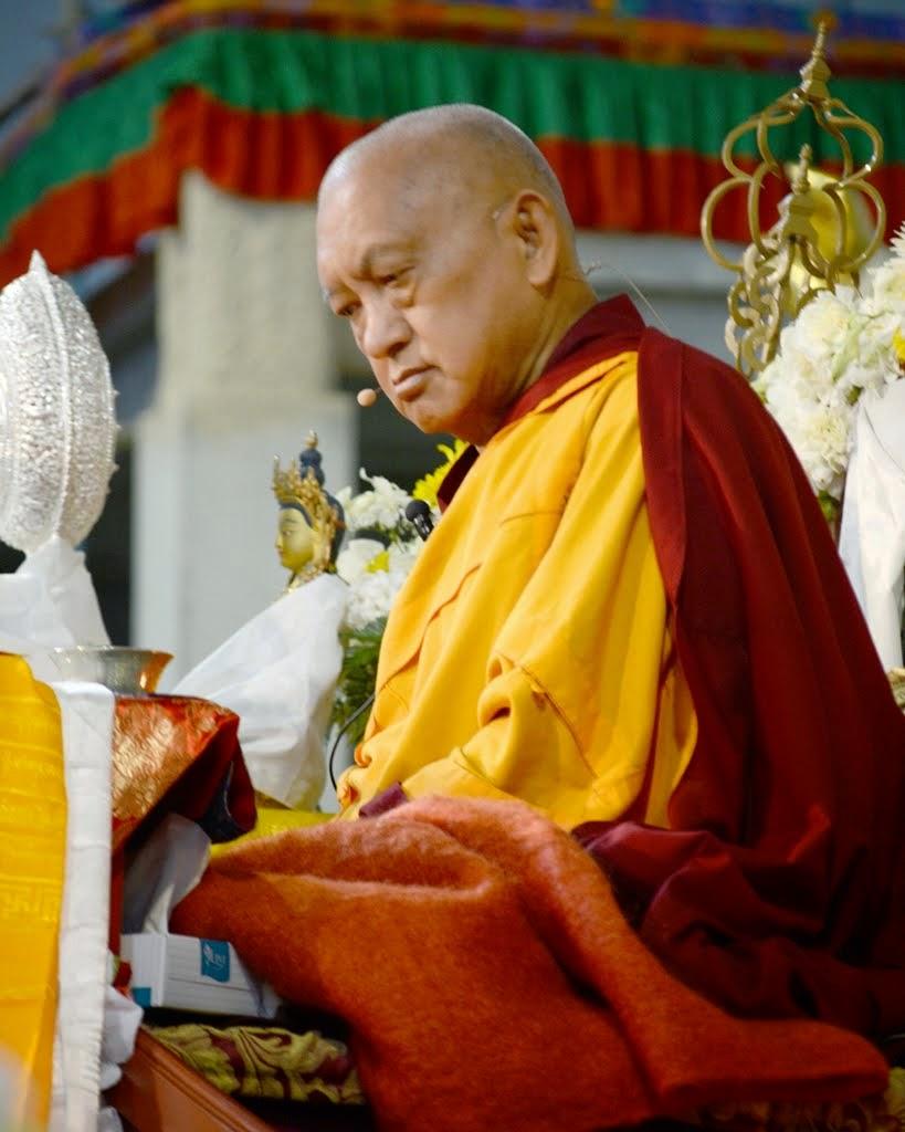 Lama Zopa Rinpoche during long life puja, Australia, September 2014. Photo by Kunchok Gyaltsen.