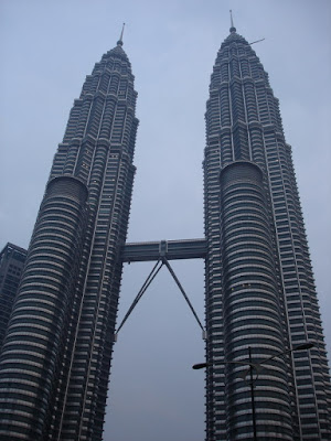 An evening view of the Petronas Towers