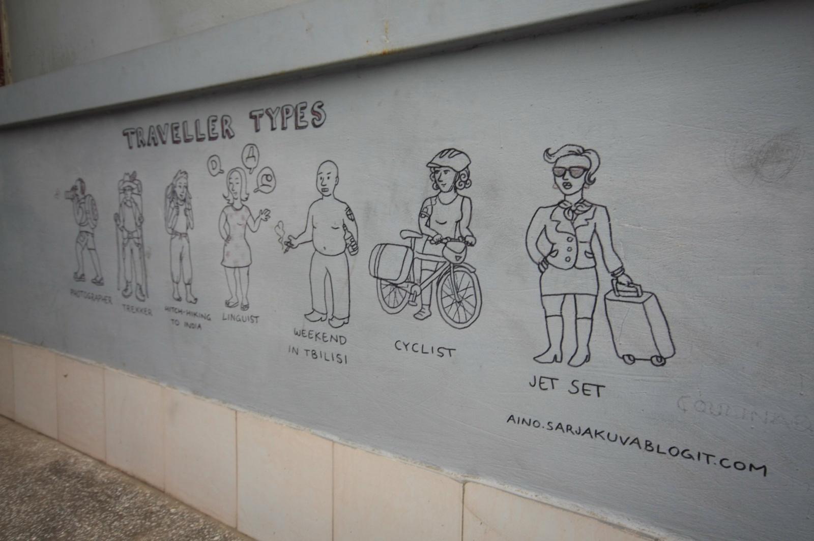 Wall art in Tbilisi hostel