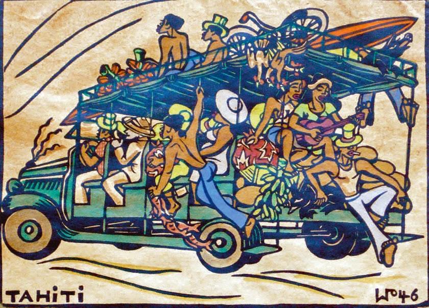 Island express, hand colored block print, 1946
