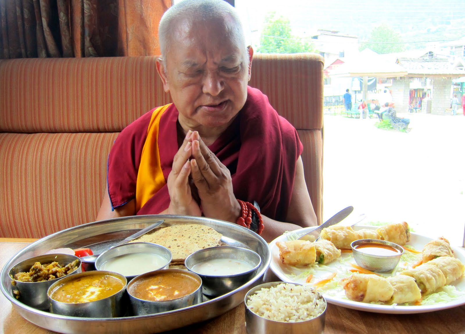 Rinpoche blessing lunch in Manali, India, July 30, 2013. Photo: Ven. Sarah Thresher