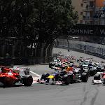 2011 Monaco F1 GP start into 1st corner