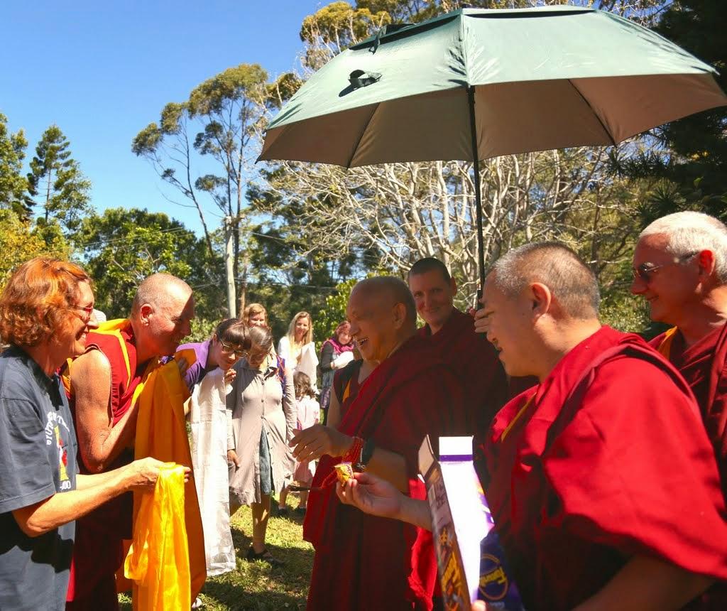 Lama Zopa Rinpoche preparing to depart Chenrezig Institute, Eudlo, Queensland, Australia, Septebmer 2014. Photo by Ven. Thubten Kunsang.