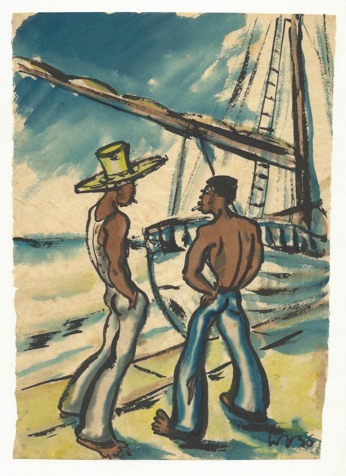 Two sailors, watercolor on paper, 1936, family-owned