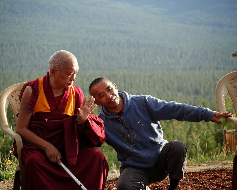 Lama Zopa Rinpoche with Gelek Sherpa, who has known Rinopche since his time as a young Mount Everest Centre monk in Lawudo, Nepal, in the 1970s, Amitabha Pure Land, Washington, US, August 2014. Photo by Ven. Roger Kunsang.