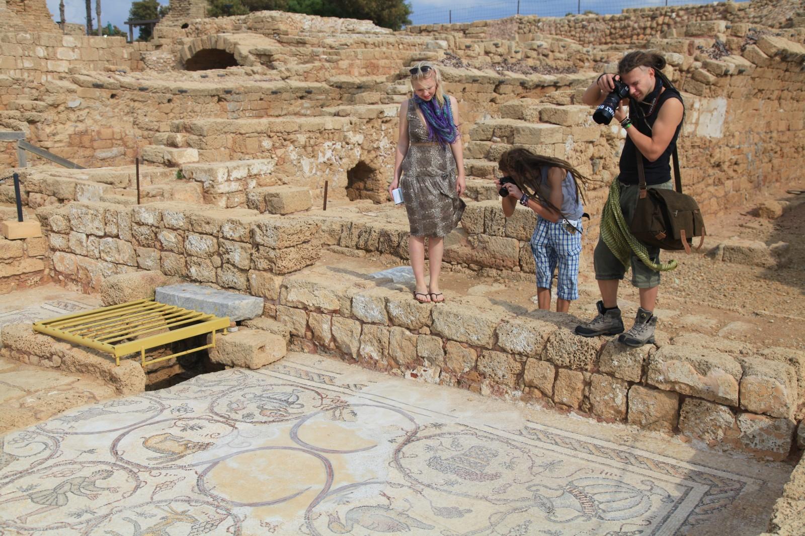 Typical tourists admiring Roman art