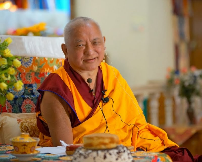 Lama Zopa Rinpoche at Sera Je, India, January 2014. Photo by Bill Kane.