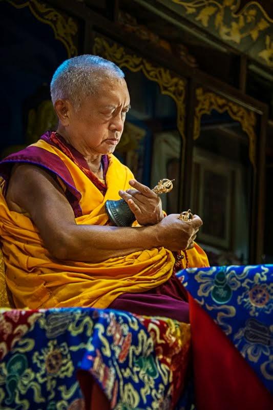Lama Zopa Rinpoche doing Lama Chopa puja at Istituto Lama Tzong Khapa, Pomaia, Italy, June 22, 2014. Photo by Sirianni.