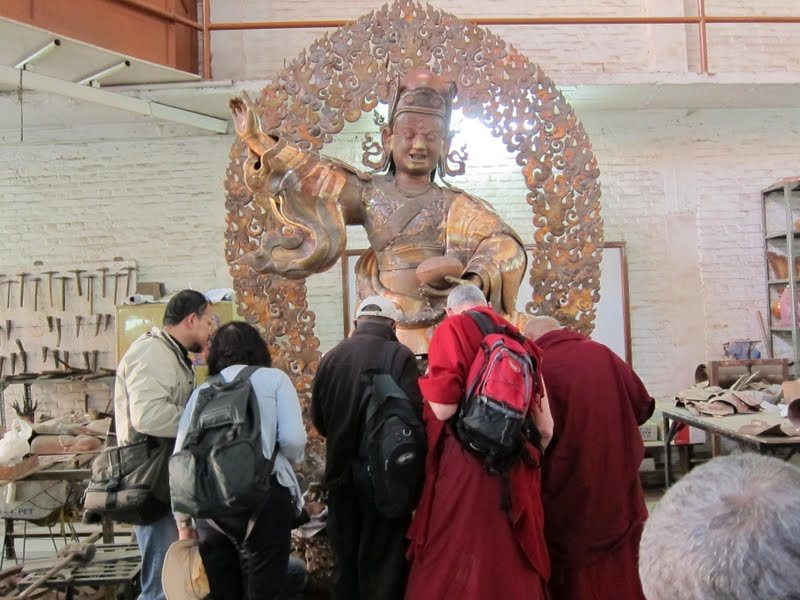 Lama Zopa Rinpoche checking the progress of the Padmasambhava statues for Lawudo