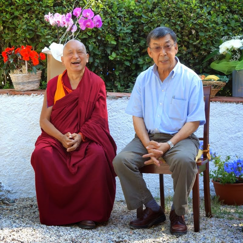 Lama Zopa Rinpoche joking and chatting with Ngari Rinpoche, the younger borther of His Holiness the Dalai Lama, Istituto Lama Tzong Khapa, Italy, June 10, 2014. Photo by Ven. Roger Kunsang.