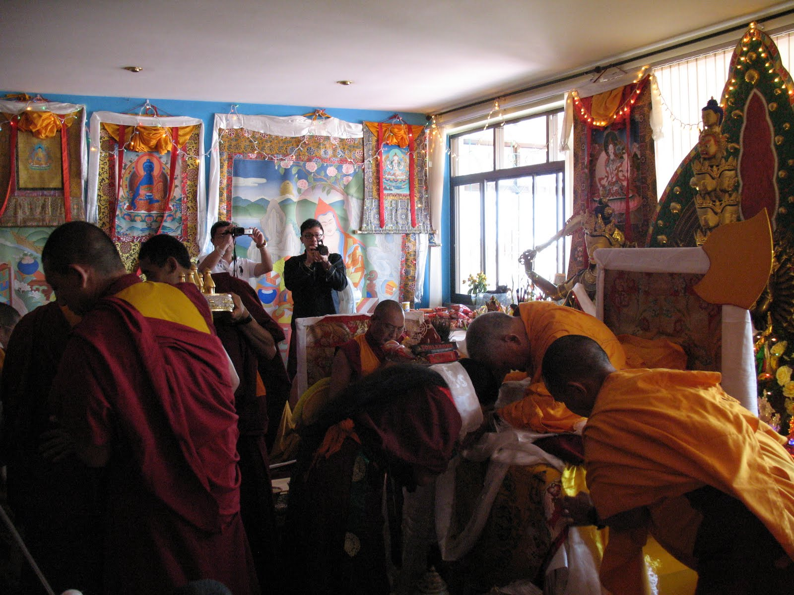 Khadro-la during special long life puja offered to Lama Zopa Rinpoche, Kopan Monastery, June 2009.